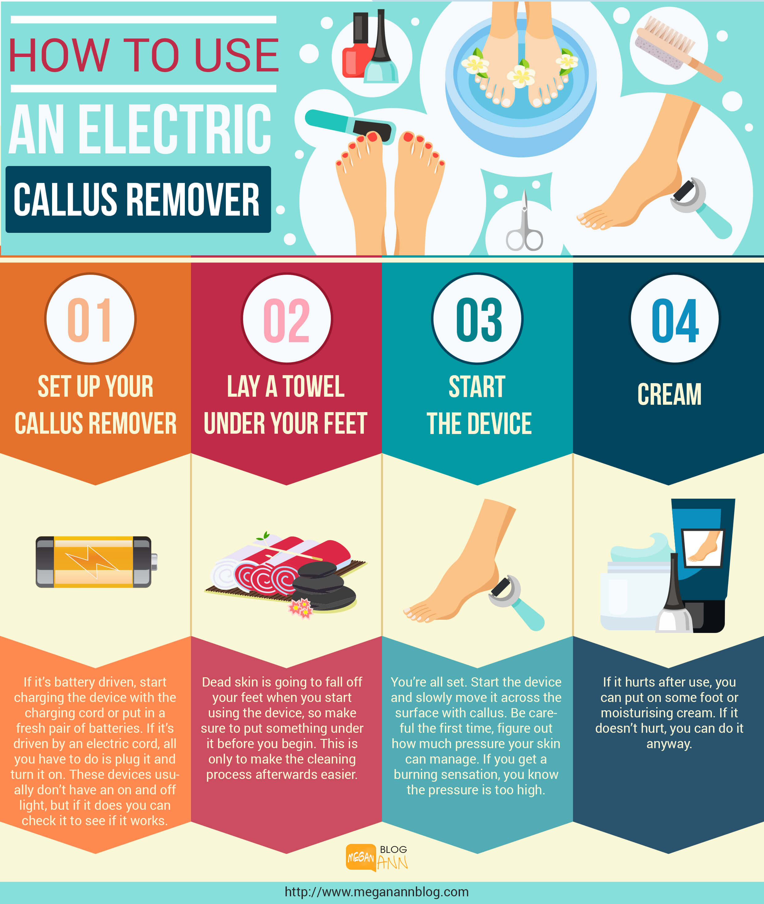 The step by step guide on how to use an Electric callus remover